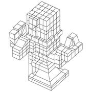 Wireframe Mesh Cubes element. Stock Illustration