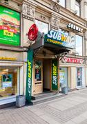 Subway is an American fast food franchise offering sub sandwiches and salads - stock photo