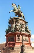 Equestrian monument to Emperor Nicholas I (1859) at the Isaakievskaya Ploshch - stock photo