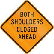 Road sign used in the US state of Virginia - Both shoulders closed ahead - stock illustration