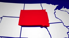 South Dakota SD United States of America 3d Animated State Map Stock Footage