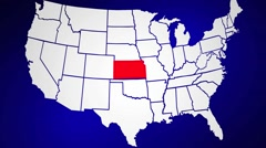 Kansas KS United States of America 3d Animated State Map Stock Footage