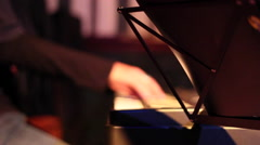 Music sheets and piano keyboard focus movement Stock Footage