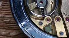 Gear inside ancient watch Stock Footage