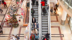 People on shopping mall spree during christmass - stock footage