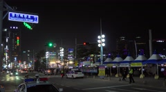 Police services at Marine City road at night. Busan, South Korea. Stock Footage