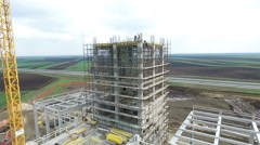 Aerial shot of factory building under construction. Stock Footage