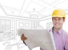 Smiling Contractor in Hard Hat with Level Over Custom Bedroom Drawing. Kuvituskuvat