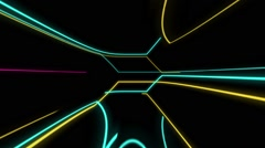 Strip of Lights and Colors in a Retro Science Fiction Background - stock footage