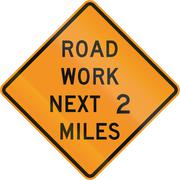 Road sign used in the US state of Virginia - Road work next 2 miles - stock illustration