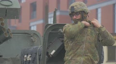 Soldier on Tank Opole Atlantic Resolve Operation Nato Forses Soldier is Stock Footage