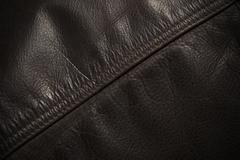Seam Line on Leather Jacket, Detail - stock photo