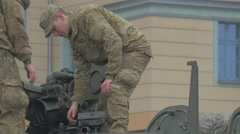 Two Soldiers Atlantic Resolve Operation Opole Poland Men in Camouflage Set a Stock Footage