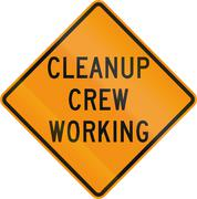 Road sign used in the US state of Virginia - Cleanup crew working Stock Illustration
