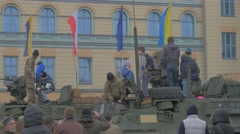 Nato Operation in Opole Young People on a Panzer Roof Military Vehicle People Stock Footage
