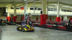 Timelapse of Group of people is driving go-kart car. 1920x1080 Stock Footage