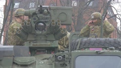 Two Soldiers on Tank Opole Atlantic Resolve Operation Nato Forses Soldiers in a Stock Footage