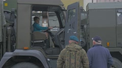 Nato Operation in Opole Kid Behind the Wheel Soldiers Civilian Are Looking at Stock Footage