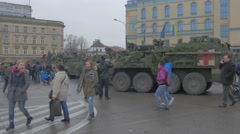 Nato Operation in Opole Poland Medical Trucks People at Military Vehicles Stock Footage