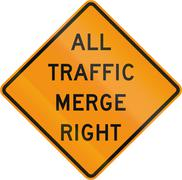 Road sign used in the US state of Virginia - All traffic merge left - stock illustration