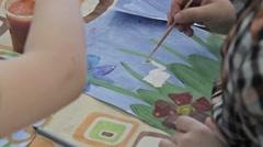 Children drawing in kindergarten - stock footage
