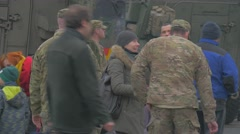 Nato Operation in Opole Soldier Smokes People Talk to Soldiers Exhibition of Stock Footage