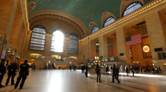 New York City Grand Central station dolly steady gimbal shot Stock Footage