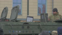 Nato Operation in Opole Soldier on a Tank Turret Military Vehicles Parade Man Stock Footage