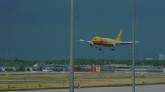 Airbus 300 DHL landing Stock Footage