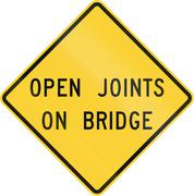 Road sign used in the US state of Virginia - Open joints on bridge - stock illustration