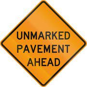 Road sign used in the US state of Virginia - Unmarked pavement ahead Stock Illustration