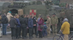 Happy People Near Nato Medical Truck Atlantic Resolve Operation in Opole Stock Footage