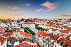 Rossio Square of Lisbon Stock Photos