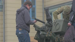 Atlantic Resolve Opole Poland Young People Standing on Vehicle Looking With Stock Footage