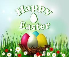 Easter egg nest - stock illustration