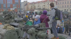 Kids Are Getting Into Hatch of Panzer Nato Operation in Opole Poland Soldiers Stock Footage