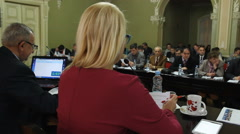 Behind the President of the Assembly MPs, councilors  Stock Footage