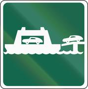 Road sign used in the US state of Washington - Car ferry - stock illustration