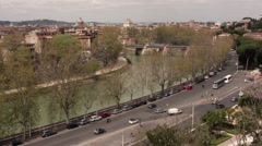 View of Rome, river Tiber, traffic - stock footage