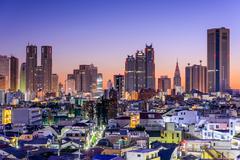 Tokyo Financial District Skyline - stock photo