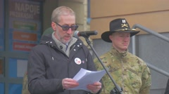 Representative of the us Army Giving a Speech Opole Resolve Operation Poland Stock Footage