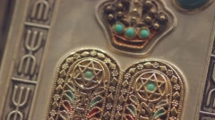Stars of David of a bible torah in gold and silver Stock Footage