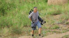 Photographer in the mountains Bayanaul Stock Footage