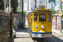 Famous tram from Lapa to Santa Teresa district, Rio de Janeiro, Brazil Stock Photos