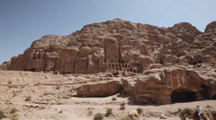 Wide shot of the Royal Tombs in Petra - stock footage