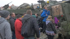 Young People Around Military Vehicles Opole Poland Atlantic Resolve Operation Stock Footage