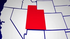 Utah UT United States of America 3d Animated State Map Stock Footage