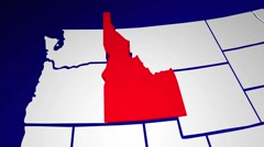 Idaho ID United States of America 3d Animated State Map Stock Footage