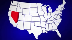 Nevada NV United States of America 3d Animated State Map - stock footage