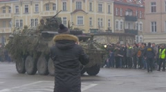 Man Taking Photo of Panzer Opole Poland Atlantic Resolve Operation Military Stock Footage